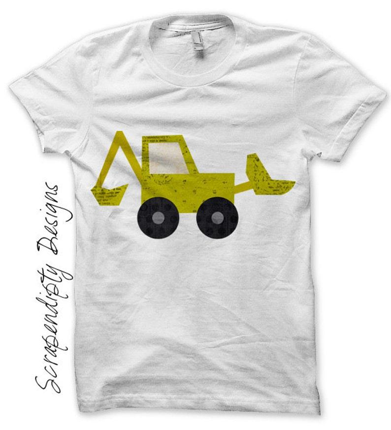 Bulldozer Iron on Transfer  Boys Iron on Shirt PDF / Kids image 0