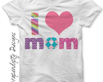 Iron on Mother's Day Shirt PDF - Love Mom Iron on Transfer / First Mothers Day Clothes / Girls I Heart Mom Tshirt / Pink Mom Shirt IT184G