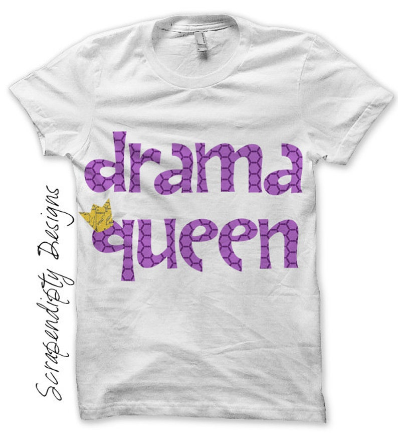 Drama Queen Iron on Shirt Girls Iron on Transfer Drama Mean image 0