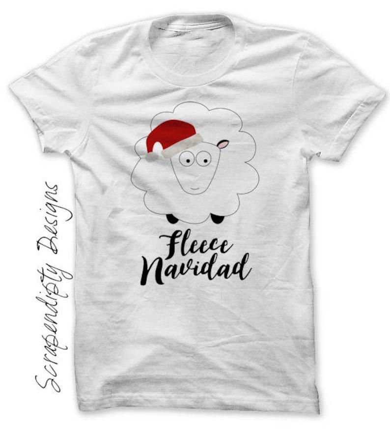 Kids Christmas Shirt Fleece Navidad Iron on Transfer Funny image 0