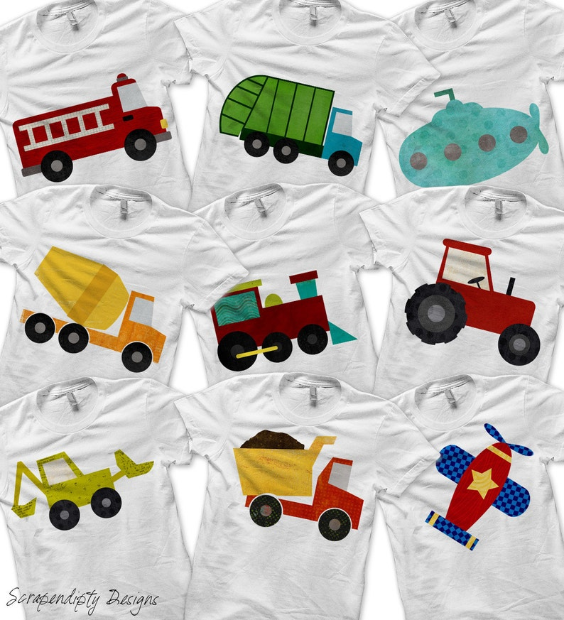 Transportation Bundle Pack  Iron on Fire Truck Shirt Digital image 0