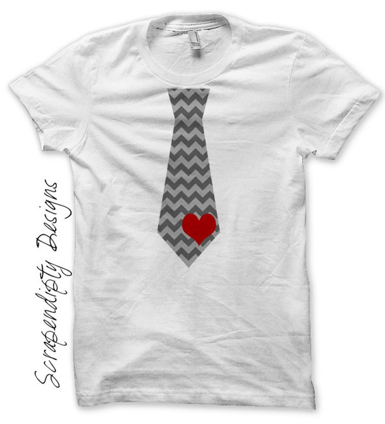Iron on Tie Shirt Valentines Day Iron on Transfer Baby Boy image 0