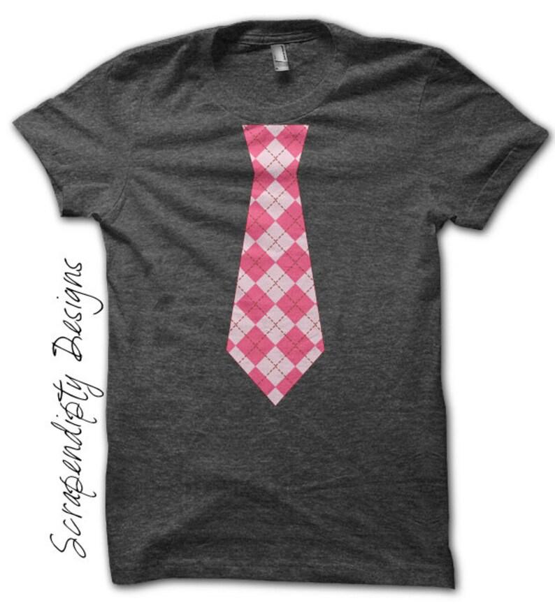 Baby Tie Iron on Shirt  Argyle Tie Iron on Transfer / Girls image 0