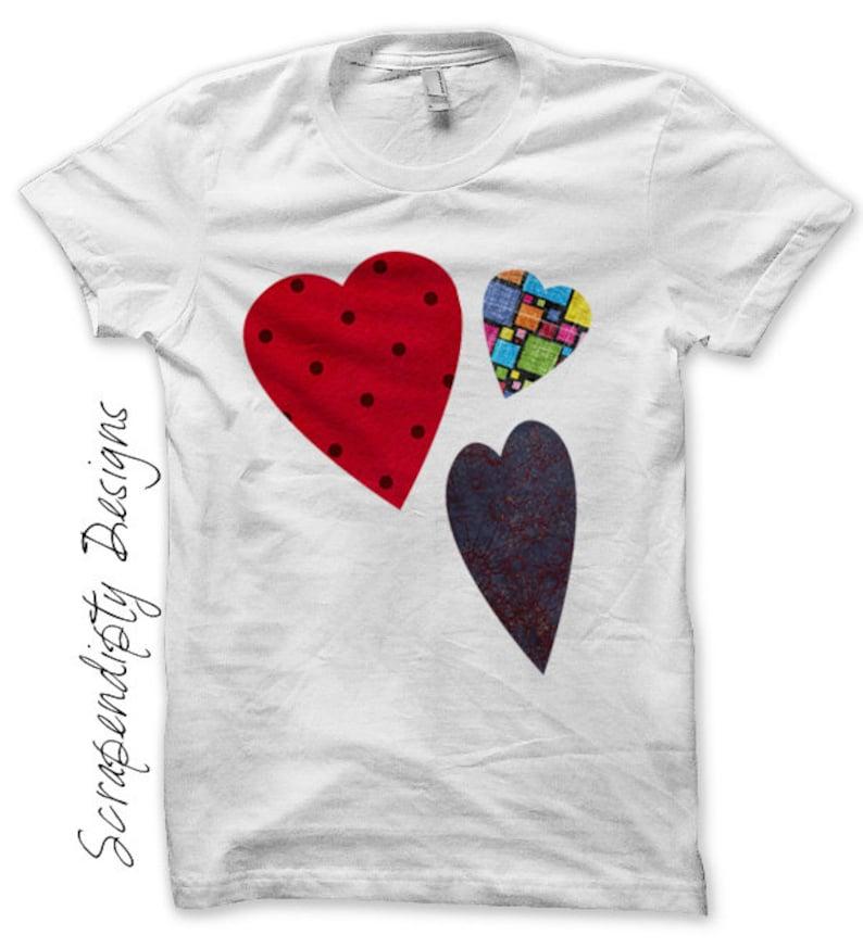 Heart Iron on Shirt Valentine Iron on Transfer Valentines image 0
