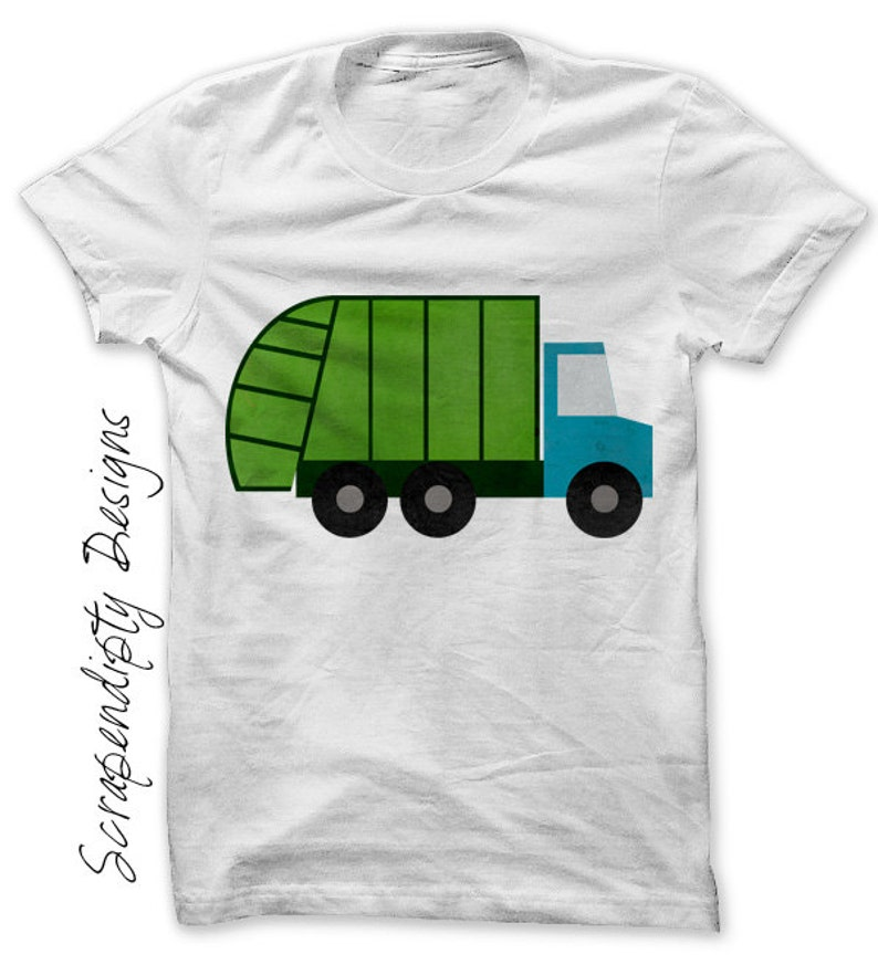 Garbage Truck Iron on Transfer Garbage Truck Shirt Boys image 0