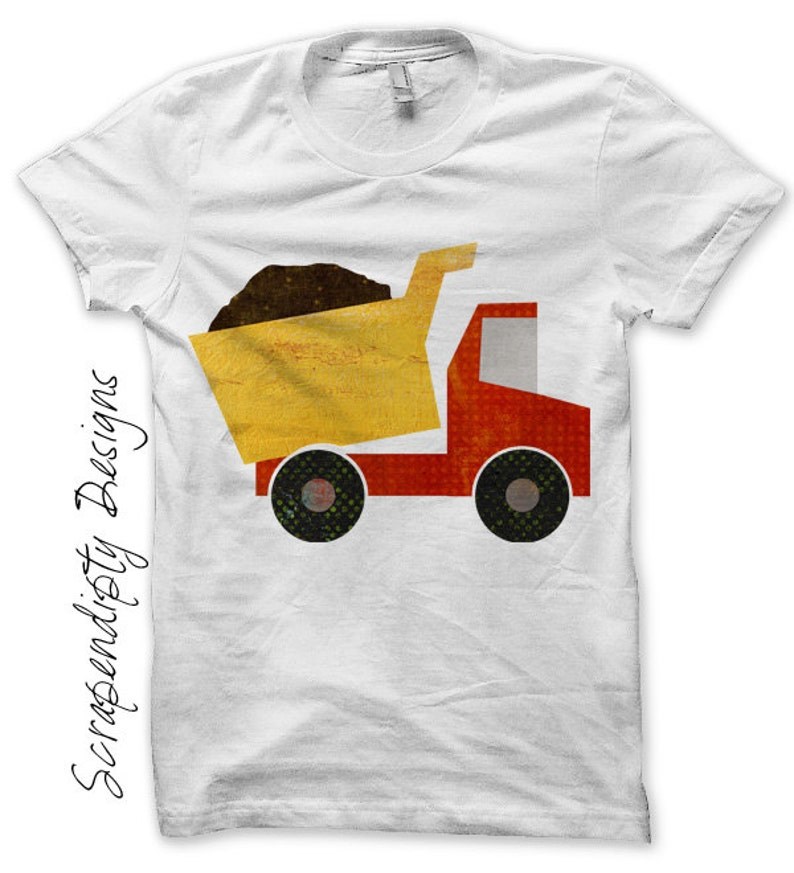Dump Truck Iron on Shirt Kids Boys Iron on Transfer Boys image 0