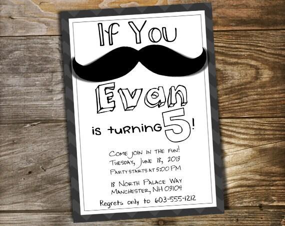 Kids Mustache Birthday Party Invitation Printable Customized Etsy