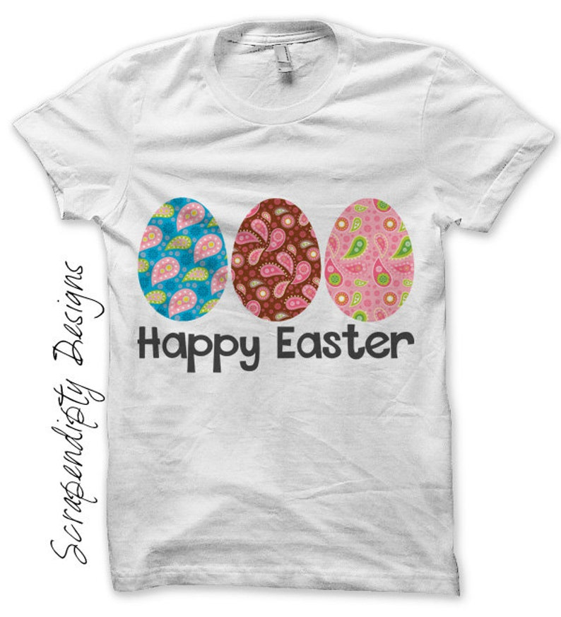 Easter Eggs Iron on Shirt PDF  Baby Iron on Transfer / Girls image 0