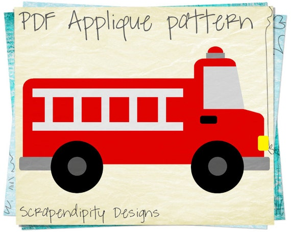 Fire truck applique pattern emergency vehicle applique etsy image 0 maxwellsz