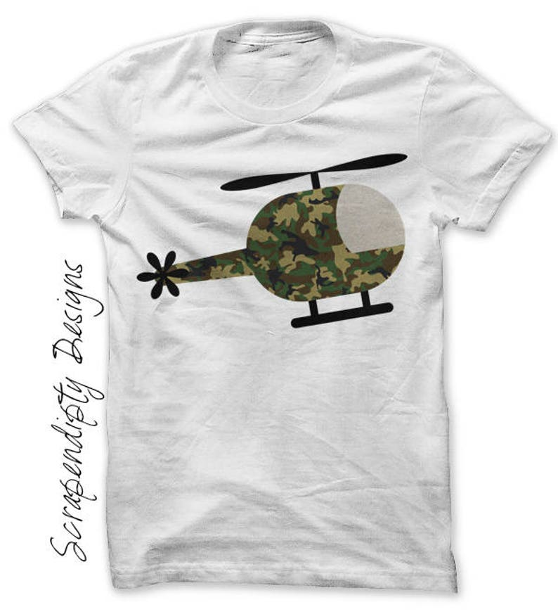 Helicopter Iron on Transfer Helicopter Shirt Adult Kids Army image 0