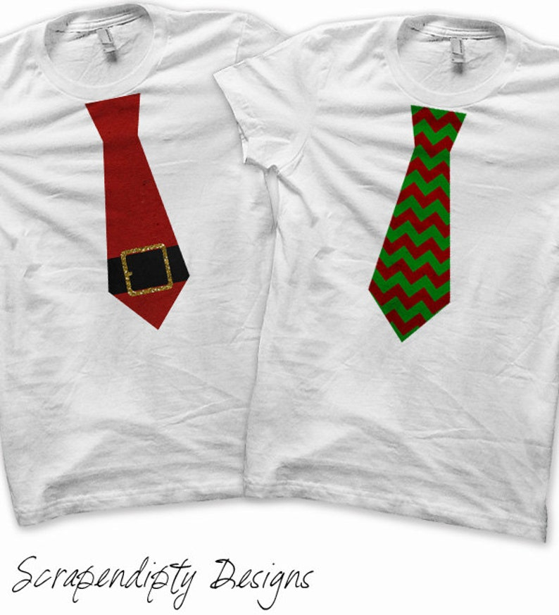 Iron on Christmas Shir Santa Tie Iron on Transfer Red and image 0
