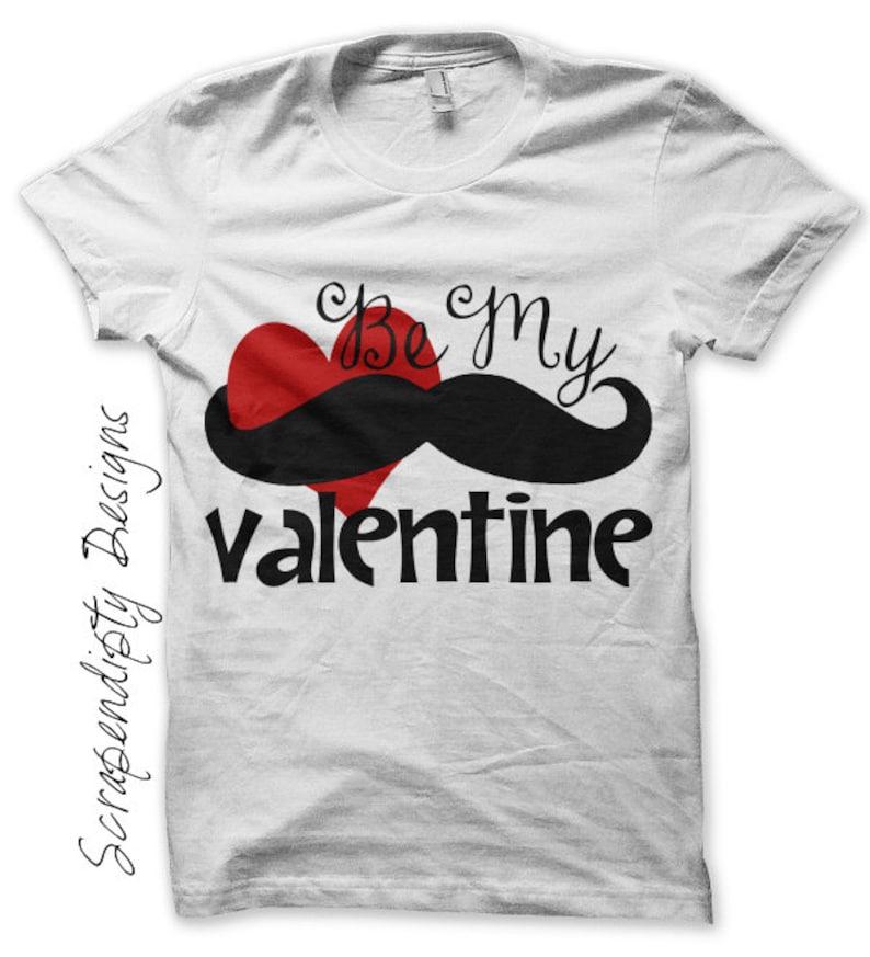 Mustache Iron on Shirt PDF  Be My Valentine Iron on Transfer image 0