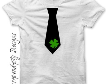 Iron on Shamrock Tie Shirt PDF - St. Patricks Day Iron on Transfer / Boys Chevron Tie Tshirt / Baby St Patricks Day Outfit / Digital IT92S
