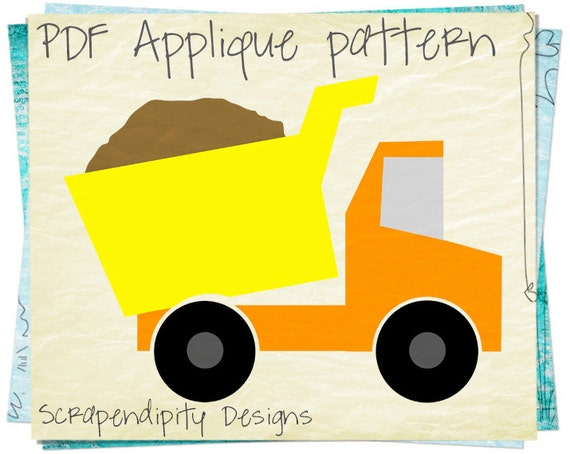 Items similar to Dump Truck Applique Pattern ...