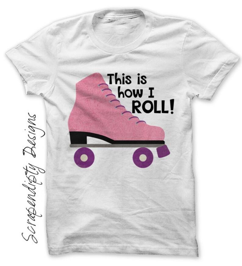 Rollerskate Iron on Transfer Girls Roller Skating Birthday image 0