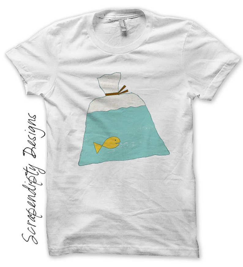 Fish in a Bag Iron on Transfer Carnival Iron on Shirt Kids image 0