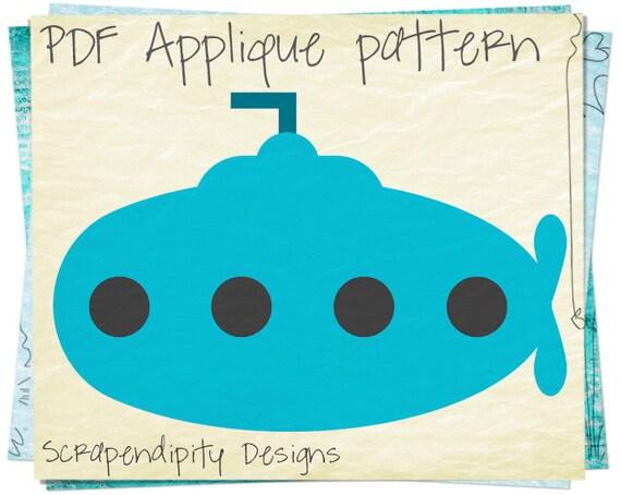 submarine applique template ocean applique pattern infant etsy