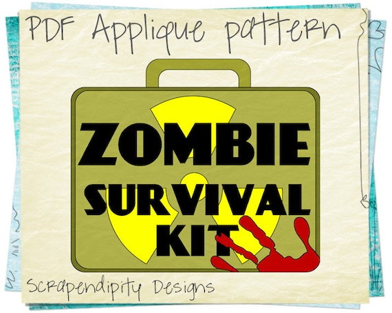 Zombie Applique Pattern Survival Kit Quilt Applique Template