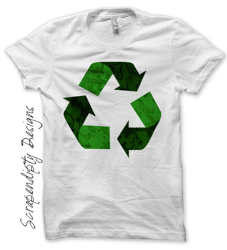 Recycle Iron on Shirt PDF  Earth Day Iron on Transfer / image 0