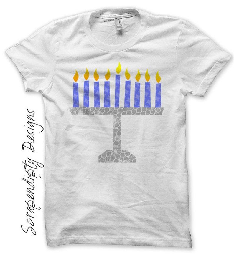 Menorah Iron on Shirt Hanukkah Iron on Transfer Chanukah image 0