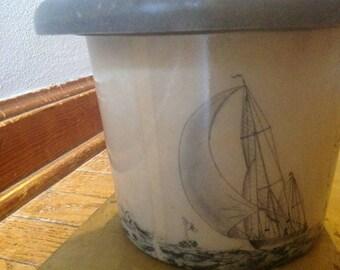 Vintage Fiberglass Ice bucket Sailboats Hand Painted