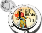Queen of Hearts from Alice in Wonderland Quotes Purse Hook Bag Hanger Lipstick Compact Mirror