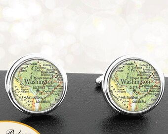 Lifetime Guarantee Washington Cufflinks DC Cuff Links City Map Cufflink S2145