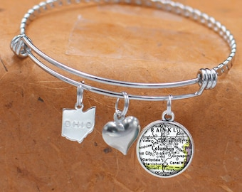 Columbus MS Map Charm Bracelet State of Mississippi Bangle Cuff Bracelet Vintage Map Jewelry Stainless Steel Bracelet Gifts For Her