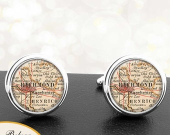 Custom Cufflinks Vintage Map Personalized Cuff links Personnalis\u00e9 Boutons de Manchette avec des cartes Old Map Mens Jewelry Made to Order