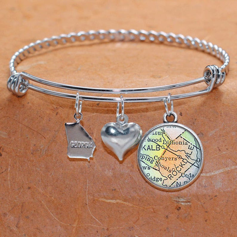 Conyers Georgia Map Charm Bracelet State of GA Bangle Cuff Bracelet Vintage Map Jewelry Stainless Steel Bracelet Gifts For Her