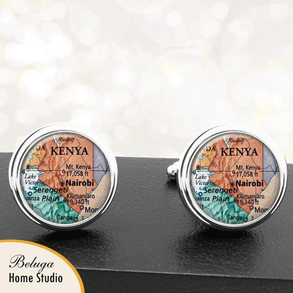 Select Gifts Kenya Flag Cufflinks Engraved Tie Clip Matching Box Set