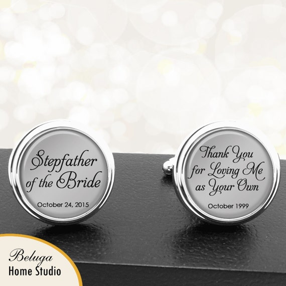 Stepfather Picture Grey Wedding Cufflinks with Black Pouch