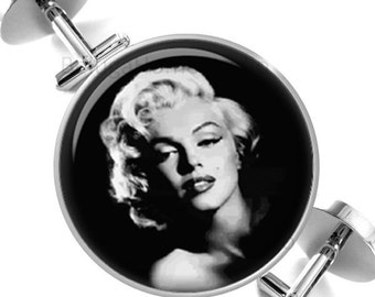 Cufflinks Marilyn in Black and White Groomsmen Wedding Party Fathers Dads Men