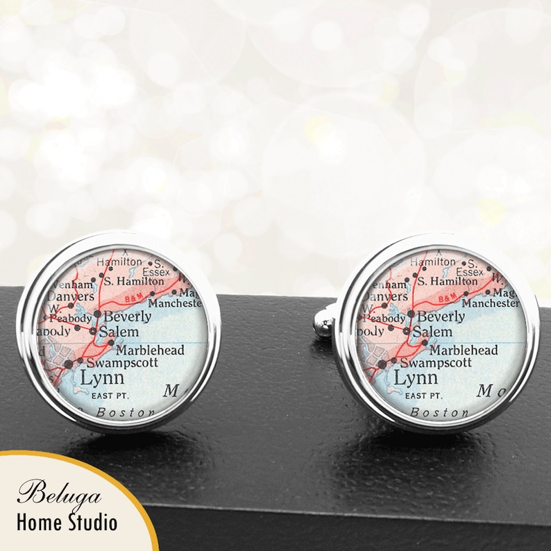 Map Cufflinks Marblehead MA Lynn MA Cuff Links State of Massachusetts for Groomsmen Wedding Party Fathers Dads Men