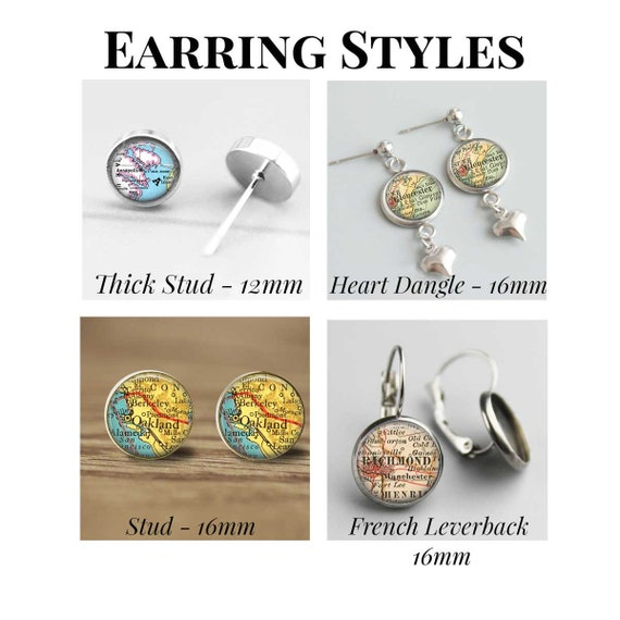 New Jersey Map Earrings  Ocean City NJ  Stainless Steel Stud Heart Dangle French Leverback Styles  Map Gifts For Her