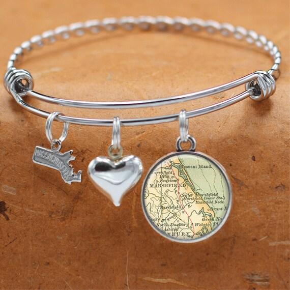 Connecticut Map Bracelet  Norwalk CT  Charm Bracelet  Vintage Map Jewelry  Bridesmaid Mothers Day Birthday Graduation Wedding Gifts
