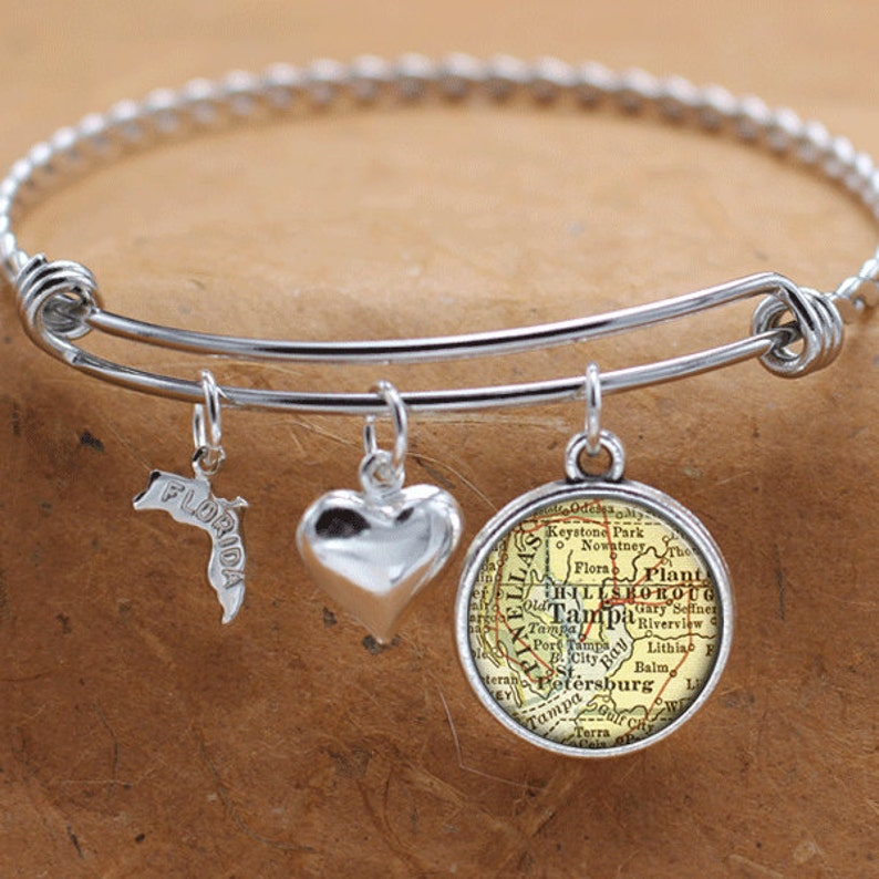 Tampa Florida Map State.Tampa Florida Map Fl State Charm Bangle Bracelet Personalized Etsy