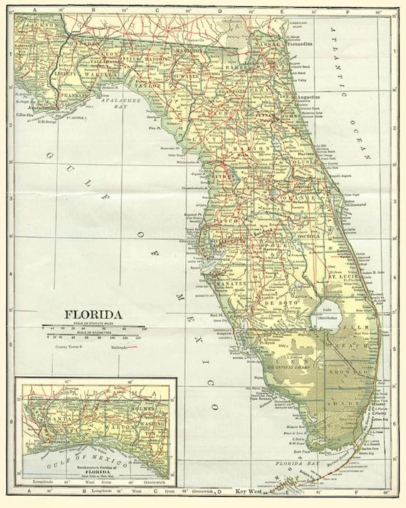 Bartow Florida Map.Lakeland Bartow Florida Map Fl State Charm Bangle Bracelet Etsy