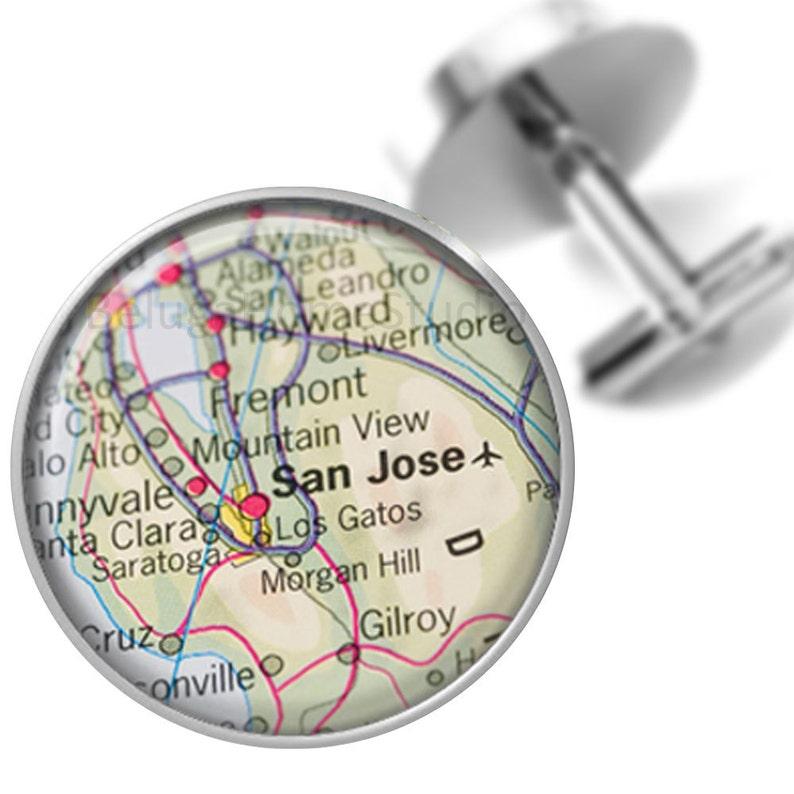Sunnyvale Mountain View Santa Clara Maps Destination Cufflinks San Hose Fremont California Groomsmen Wedding Party Fathers Dads Men