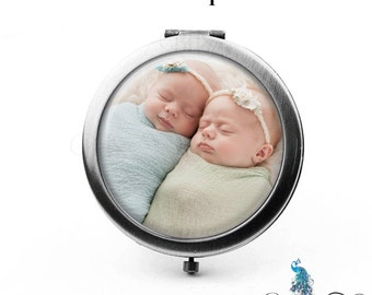 Compact Mirror Your Photo or Picture Pocket Mirror Cosmetic Mirror Purse Mirror Baby Twins Pets Couples Family Children