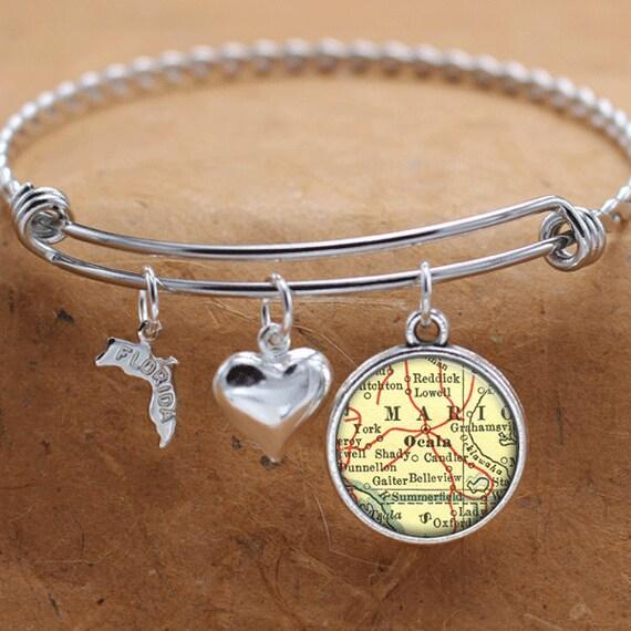 Ocala Florida Map.Ocala Florida Map Fl State Charm Bangle Bracelet Personalized Etsy