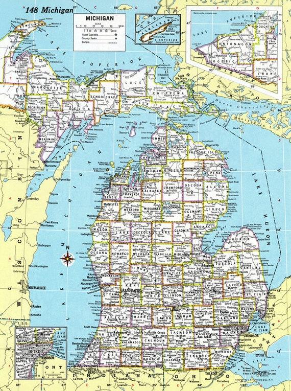 Michigan Map Bracelet Mackinac Island Mi Charm Bracelet Etsy