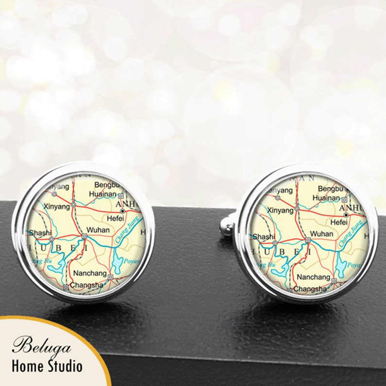 Map Cufflinks Wuhan China Cuff Links for Groomsmen Groom Fiance Anniversary Wedding Party Fathers Dads Men
