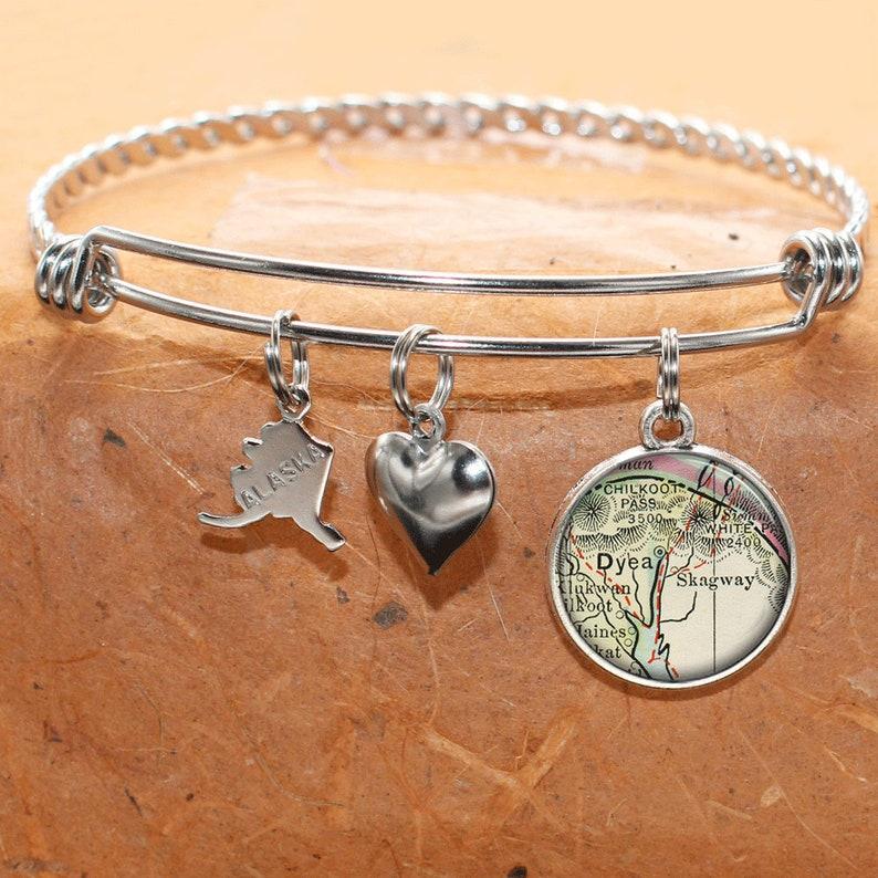 8e0f72078b8fe Alaska Map Bracelet / Dyea, Skagway AK / Map Charm Bracelet / Vintage Map  Jewelry / Map Gifts / Bridesmaid Birthday Graduation