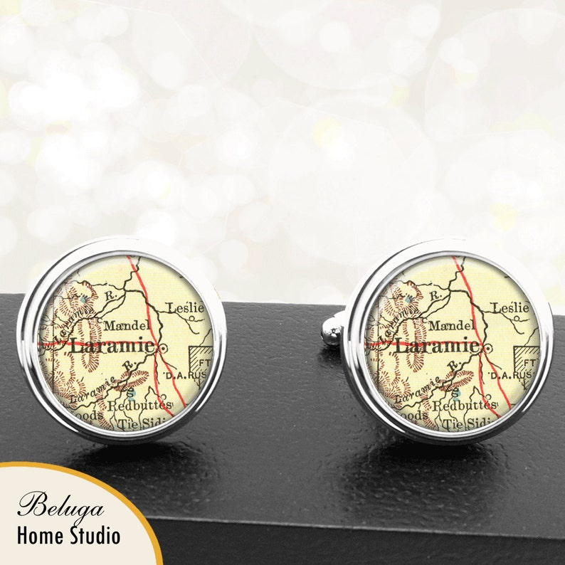 Map Cufflinks Laramie WY Cuff Links State of Wyoming for Groomsmen Wedding Party Fathers Dads Men
