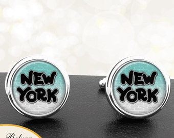 New York Graffiti Cuff Links Personalized Handmade Cufflinks for Men, Groomsmen, Anniversaries, Weddings - Any City or Colors By Request