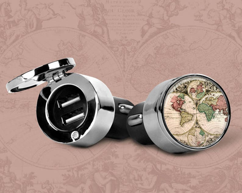 Antique World Map Car Charger USB Cell Phone Tablet Charger Dual Port Stainless Steel Cover