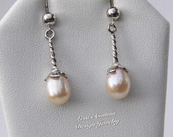Freshwater white pearl Sterling silver dangle earrings