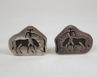 Handmade Bullfighting Bullfighter Stainless Steel Cufflinks 16mm