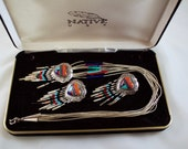 New Mexico QT Native American Inlaid Sterling Hearts Earrings and Liquid Silver Necklace Set